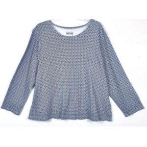 Basic Edition Women's Size 2X Navy Blue Print Top